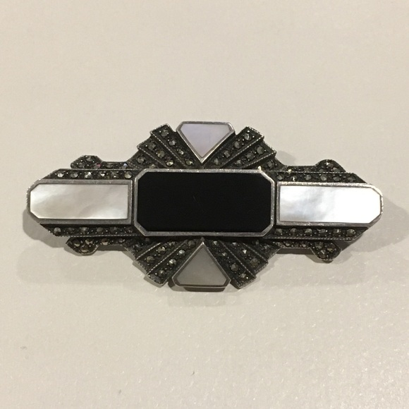 Vintage Jewelry - Vintage Art Deco Onyx Marcasite MoP Sterling Pin